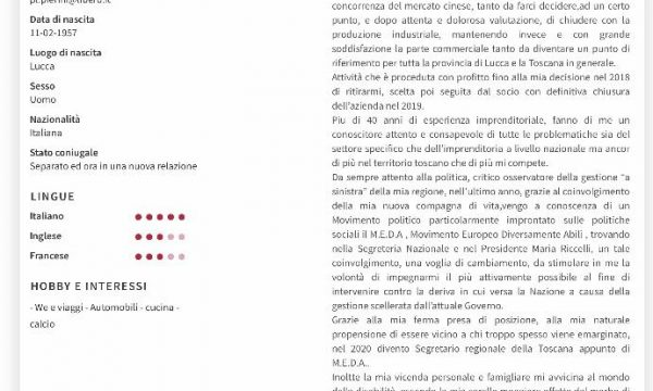 TOSCANA CIVICA: Il candidato Pier Luigi Pierini (Pistoia)